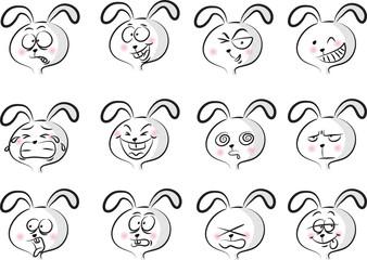 cartoon cute rabbit face set