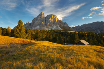 Mountain landscape with a peak on background, Dolomites, Italy