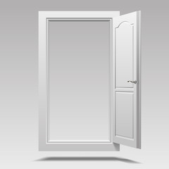 White open door hanging in the air