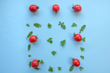 Healthy eating concept with rucola leaves and cherry tomatoes