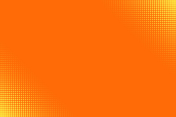 Pop art half tone yellow dots on orange background. Vector illustration.