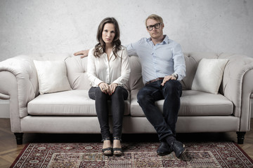 Couple sitting on the sofa