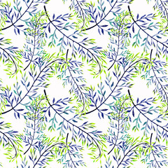 Seamless abstract floral pattern. Blue, green  leaves , twigs white background.