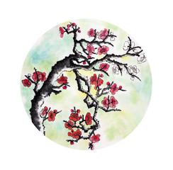 flowering plum branch