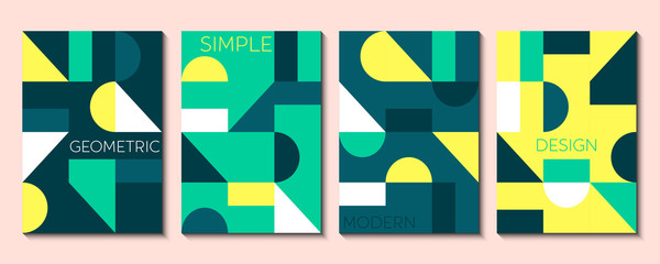 Set of 4 simple geometric modern template designs. Vector illustration.