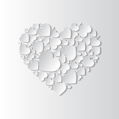 Beautiful paper cut out heart with many small white hearts on white background. Vector illustration