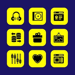 Essentials vector icon set. headphones, browser, gift and heart