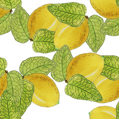 Watercolor lemons seamless pattern isolated on white background