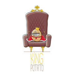 vector funny cartoon cool cute brown smiling king potato with golden royal crown and red mantle or cape sitting on brown throne isolated on white background.