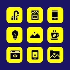 Web Design vector icon set. light bulb, tea cup, image and folder