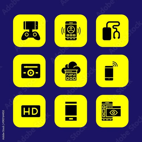 Technology vector icon set  music player, cloud computing