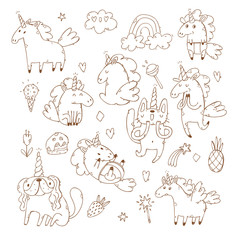 set of hand drawn unicorns