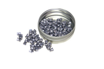lead pellets for air rifle isolated on white