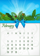 Calendar February 2018 with tropical concept. Vector Illustration