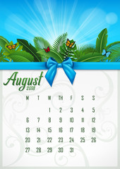 Calendar August 2018 with tropical concept. Vector Illustration