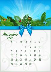 Calendar November 2018 with tropical concept. Vector Illustration