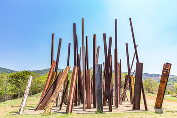 BRUMADINHO, BRAZIL - OCTOBER, 15, 2017: Beam Drop by Chris Burden at Inhotim Institute, Minas Gerais