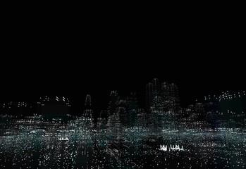 Illuminated night city skyline