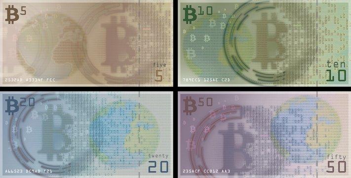 Bitcoin bills and coins, illustration