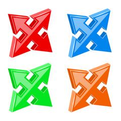 Arrows set. Multi directional combo arrows