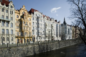 Prague - Buildings on the waterfront in Art Nouveau style
