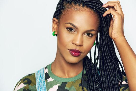 African-American woman with dreadlocks