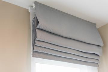 closed up of beautiful  grey curtain