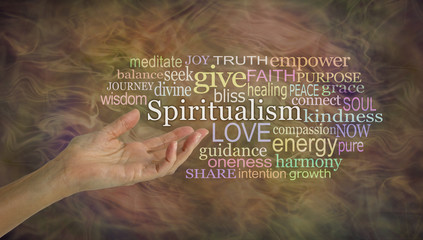The meaning of Spiritualism Word Cloud - female hand gesturing towards the word SPIRITUALISM surrounded by a word cloud on a earthy gaseous ethereal background