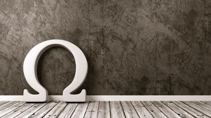 Omega Greek Letter Symbol in the Room