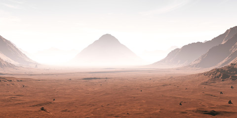 Dust obscured Martian landscape. 3D illustration