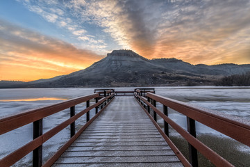 Winter Sunrise at Flatiron Reservoir located in Loveland, Colorado in Larimer County