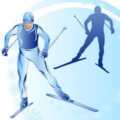 Stylized figure of a skier on a blue background