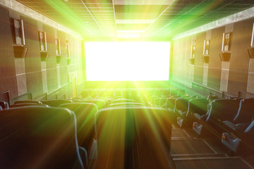 Bright effects on the screen of the cinema