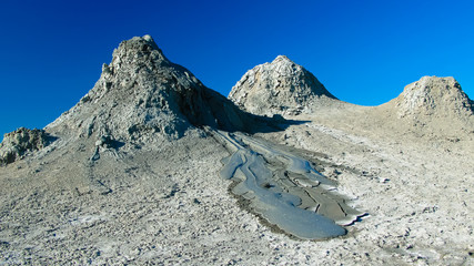Panorama view to mud volcanoes, Qobustan, Azerbaijan