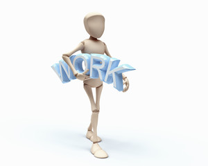3D guy hold word WORK
