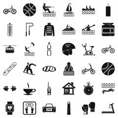 Public health icons set, simple style