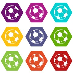 Soccer ball icon set color hexahedron