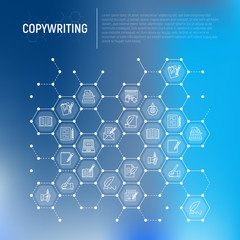Copywriting concept in honeycombs with thin line icons: letter, e-mail, book, blogging, hand with pen, feather, typewriter, article, seo. Modern vector illustration for web page template, banner.