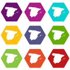 Map of Spain icon set color hexahedron