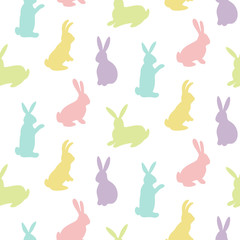 Rabbits silhouettes seamless pattern