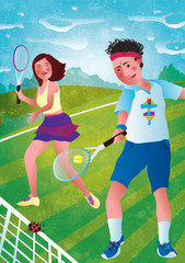 A man and a woman play tennis on a green field. Illustration