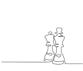 Continuous line drawing. Chess pieces queen and king. Vector illustration