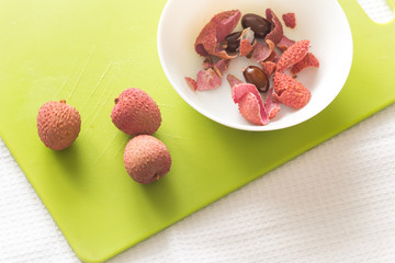 Lychee on the table.