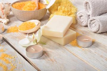 orange bath salt gray soap orchids and candles