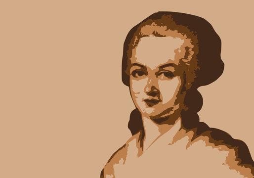 Olympe de Gouges - féminisme - féministe -portrait - écrivain - personnage historique - guillotine