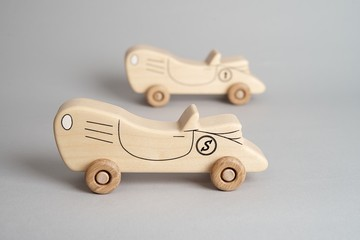 Children toy, an old wooden car
