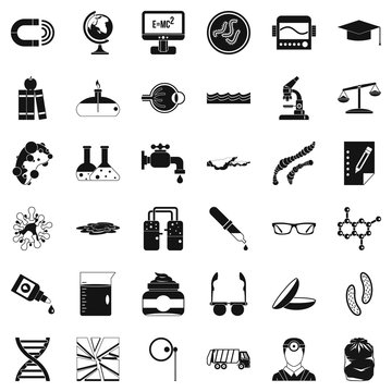 Scientific widget icons set, simple style