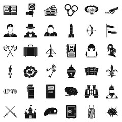 War army icons set, simple style