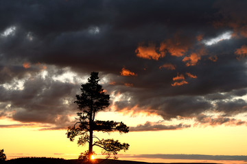 Picturesque sunset in hills. Northern Finland, Lapland