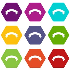 Banner ribbon icon set color hexahedron